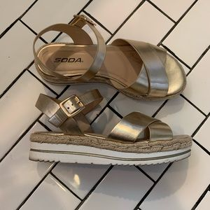 Gold Espadrille Sandals